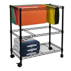 Metal Rolling File Cart Office Classroom Portable Storage Organizer Filing Shelf