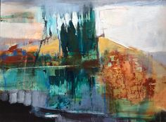 "Abstract Artists International: Contemporary Abstract Mixed Media Painting Challenge ""CORTONA MEMORY"" by Intuitive Artist Joan Fullerton Abstract Landscape Painting, Abstract Oil, Landscape Art, Landscape Paintings, Landscapes, Contemporary Landscape, Acrylic Paintings, Contemporary Artists, Mountain Art"