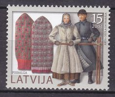 LATVIA-2004-MNH-SC-604-Folk-Art-Traditional-Costumes-Mittens