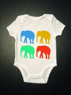 Elefun Colorful Elephant Funny Baby Onesie by TinyVesselApparel, $14.00