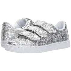 PUMA Basket Strap Glitter (Silver/Silver) Women's Shoes ($80) ❤ liked on Polyvore featuring shoes, adjustable strap shoes, glitter shoes, silver strap shoes, adjustable shoes and strappy shoes