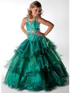 Unique Pageant Girls Long Emerald 2 Tone Green Dress