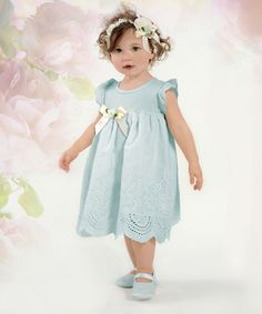 Love this Pale Aqua & Mint Floral Bow Eyelet Dress - Infant on #zulily! #zulilyfinds
