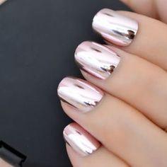 Rose Chrome Powder For Mirror Nails | Etsy Chrome Nails Silver, Metallic Nails, Gold Chrome, Glue On Nails, Gel Nails, Coffin Nails, Manicure, Nail Polish, Mirror Nails