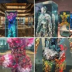Dustin Yellin = painting and collage on glass