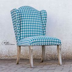 Who said you can't be blue and walk on the wild side? Our Blue Chenille Houndstooth Wing Chair shows off your frisky side. http://www.myswankyhome.com/winesett-blue-armless-chair/