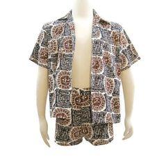 Vintage 60s Mens Cabana Set MOD Matching Swim Trunks Shirt Swimsuit Novelty…