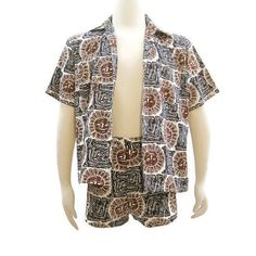 60s Mens Cabana Set MOD Matching Shorts Shirt Novelty Sun Print by VogueVintageMenswear #vintage #menswear #swimwear