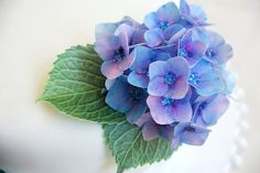 Edible hydrangea wafer paper flowers cake by SweetWhimsyedibles