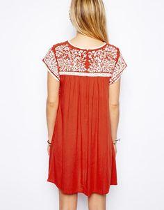 ASOS | ASOS Premium Swing Dress With Embroidery at ASOS