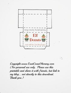 East Coast Mommy: Elf on the Shelf Donuts... free printable box