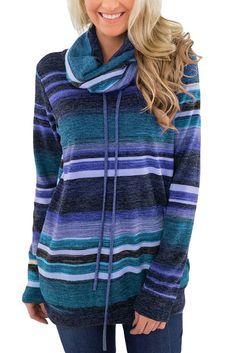 186470df574 Purple Multicolor Cowl Neck Striped Long Sleeve Top. Cowl NeckColor BlockingLong  Sleeve TopsDenim JeansHooded JacketPurplePulloverWomen s SweatshirtsSleeves