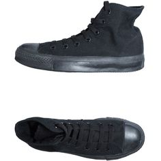 Converse All Star High-top Trainers ($53) ❤ liked on Polyvore featuring shoes, sneakers, converse, black, high top trainers, black hi top sneakers, black hi tops, black shoes and hi tops