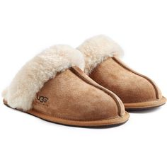 UGG Australia Scuffette  Suede Slippers ($90) ❤ liked on Polyvore featuring shoes, slippers and brown