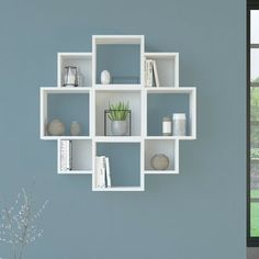 Symple Stuff Bookcase with open compartments Finish: White Unique Wall Shelves, Corner Wall Shelves, Wall Shelf Decor, Cube Shelves, Shelves In Bedroom, Wall Shelves Design, Cube Wall Shelf, Room Ideas Bedroom, Bedroom Decor
