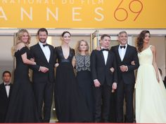 Actors Julia Roberts, Dominic West, Caitriona Balfe, director Jodie Foster, Jack O'Connell, George Clooney and Amal Clooney at the Cannes premiere of Money Monster.
