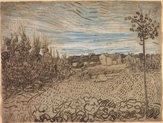 Vincent van Gogh: Cottages with a Woman Working in the Foreground-Auvers-sur-Oise: late May, 1890 (Chicago: Art Institute of Chicago) F 1642, JH 1994