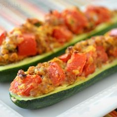 """""""stuffed zucchini boats"""" (Linked recipe is specifically for an Italian sausage filling, but I could see trying a few variations like pizzas, tuna melts, or even chicken enchilada fillings.)"""