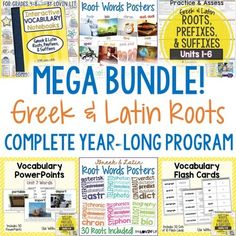 Greek and Latin Roots Greek and Latin Roots Mega Bundle! This Greek and Latin Roots MEGA BUNDLE is a complete, year-long vocabulary program. It is a huge bundle of the following products: Greek and Latin Roots Interactive Notebook Greek and Latin Roots Printables (Worksheets & Tests for 36 Weeks!) Greek and Latin Roots Posters (Photos) Greek and Latin Roots Subway Art Posters Greek and Latin Roots PowerPoint Presentations Greek and Latin Roots Flash Cards *NEW!* Greek and Latin Roots,...