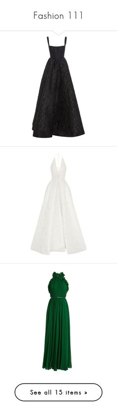 """""""Fashion 111"""" by morningstar1399 ❤ liked on Polyvore featuring dresses, gowns, black, floral print evening gown, floral printed dress, full skirts, floral print gowns, floral ball gown, white and halter tops"""