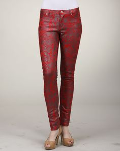 Cheryl says: What's so great about these pants is the unique pattern that is decorated all over. The pattern is reminiscent of scales, and the color is red hot. When you wear these pants you will exude confidence and sex appeal. It has a great fit with some stretch, a nice button closure and a five-pocket design. Cheryl, Parachute Pants, Muse, Confidence, Closure, Pocket, Button, Unique, Fit