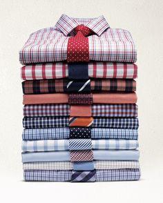 Algunas combinaciones de camisas y corbatas