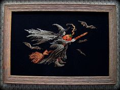 Spooky Flying Witch Cross Stitch - ValByDesign