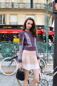 Street Style of Paris: Larissa Marchiori in BCBG MAXAZRIA Top, Herve Leger Skirt, ANTEPRIMA Bag & VANS Shoes | Fashionsnap.com
