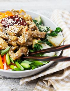 Fast and Easy Sesame Chicken Bibimbap - ready in 20 minutes!