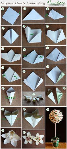 Origami Flower Tutorial http://handeco.ro/tutorial-flori-origami