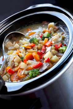 Ingredients -  6 cups chicken broth or vegetable broth ¼ head chopped broccoli 1 chopped onion 2 cans diced tomatoes, not drained (14 oz each) 8 chopped mushrooms 4 minced garlic cloves 1 chopped red bell pepper 2 chopped carrots 2 tablespoons olive oil 2 peeled, chopped Russet potatoes ½ teaspoon thyme ¼ head chopped cabbage Salt and black pepper, to taste