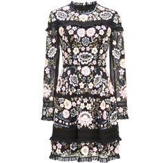 Needle & Thread     Embroidery Lace Mini Dress ($700) ❤ liked on Polyvore featuring dresses, needle & thread, long sleeve short dress, long-sleeve lace dresses, floral lace dress, lace mini dress and floral dresses