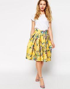 ASOS Premium Bonded Lace Skirt in Floral Print