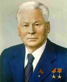 Konstantin Ustinovich Chernenko (/tʃɜrˈnɛŋkoʊ/;[1] Russian: Константи́н Усти́нович Черне́нко, 24 September 1911 – 10 March 1985) was a Soviet politician and the fifth General Secretary of the Communist Party of the Soviet Union. He led the Soviet Union from 13 February 1984 until his death thirteen months later, on 10 March 1985. Chernenko was also Chairman of the Presidium of the Supreme Soviet from 11 April 1984 until his death. jpg