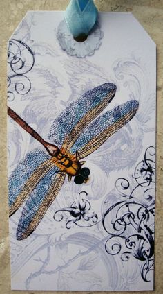 Vintage Dragonfly Tags Set of 6 by PikakePress on Etsy - Love the lacy wings. Card Tags, Gift Tags, Dragonfly Art, Paper Tags, Butterfly Cards, Artist Trading Cards, Copics, Tag Art, Altered Art