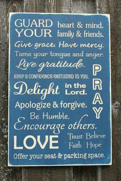 Guard Your Heart House Rules Family Rules Christian Wood Subway Sign - 16x24 Shabby Chic Handpainted Carved Engraved Rustic Wooden Sign words of wisdom wall