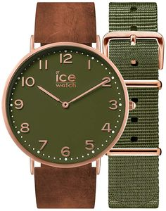 Ice-Watch - CITY Oakwood - Men's (Unisex) wristwatch with leather strap + extra nylon strap - 001363 (Medium) Nylons, Gift Sets For Her, Bracelet Cuir, Unisex, Quartz Watch, Gold Watch, Bracelets, Clock, Watches