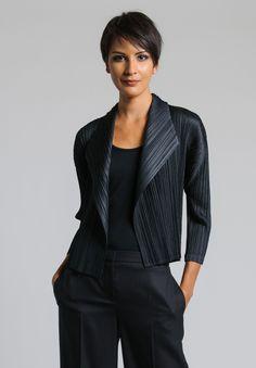 Issey Miyake Pleats Please Lapel Open Jacket in Black