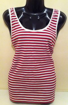New - Womens TU Pink/Blue/White Striped Cotton Vest Top Size 20 - £7.99