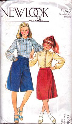 Genuine Vintage 1970s MAUDELLA 6340 Childrens Girls Decorative Blouses, Cullottes and Pleated Skirt '2' Sets Sewing Pattern