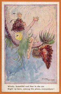 postcards, pine cone, magic thing, flora white, white postcard
