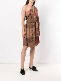 2203e8f6228 Vivienne Westwood полосатое платье-рубашка на одном плече