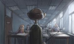 class in session by ~Bakenius on deviantART.com    (Love the drab, cold feeling)