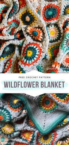 Crochet Wildflower Blankets Free Patterns Crochet Wildflower Blankets will surely help you change the character of your interiors. Is there anything more romantic and pretty than a meadow full of Crochet Afghans, Crochet Blanket Patterns, Crochet Stitches, Knitting Patterns, Crochet Blankets, Crochet Free Patterns, Crochet Ideas, Granny Square Häkelanleitung, Granny Square Crochet Pattern
