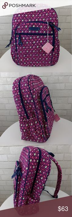 """NWT Vera Bradley Campus Pink Katalina Backpack Style: Katalina Pink Diamond 14457-331 Measurements: 11.5"""" W 17"""" H 7"""" D  Pockets: one of each side. 3 main zippers. Inside has pen holders, an ID holder and 4 additional pockets.  Adjustable straps. Vera Bradley Bags Backpacks"""