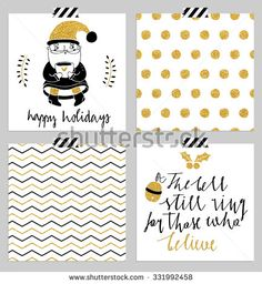 Hand drawn typography card set. Merry christmas and happy new year greetings hand-lettering isolated card collection in black, white and gold colors with seamless pattern. Vector illustration.