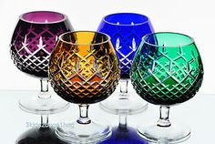 Bleikristall German Cut to Clear Crystal Brandy Glasses Goblets Snifters