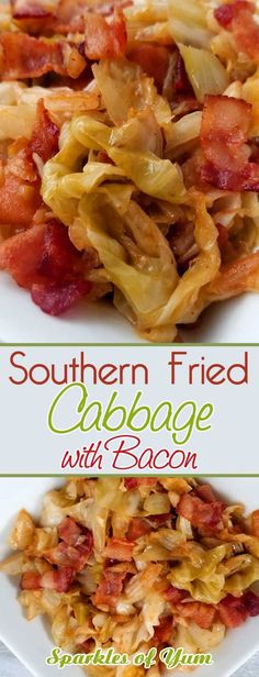 If your a lover of bacon and you like cabbage, you will fall in love with this quick and easy Southern Fried Cabbage! The flavors you get are a natural sweetness that comes together with this simple dish. You'll wish you tried it sooner. Fried Cabbage Recipes, Bacon Fried Cabbage, Side Dish Recipes, Vegetable Recipes, Southern Fried Cabbage, Country Cabbage Recipe, Best Cabbage Recipe, Deep South Dish, Plat Simple