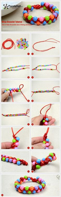Cute Colorful beaded bracelets double hand braided rope tutorial picture