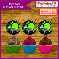 Laser Tag 2 inch Printable Cupcake Toppers by DigiGraphics4u
